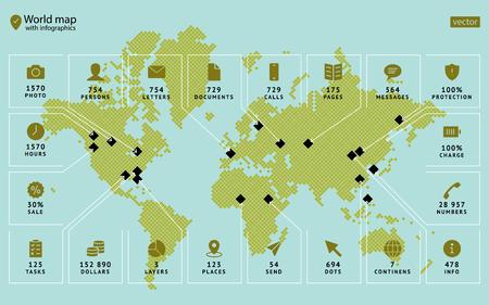 人気のアイコンとテキストを持つ矢印の脚注で世界の近代的な概念ベクトルマップを見つける。ビジネステンプレート、年次報告書、ポスター、小