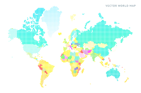 Abstract vector map of the world from dot forms with place marks for filling out info-graphics, business templates, covers, web sites, interfaces, business cards, catalogs, brochures, annual reports.