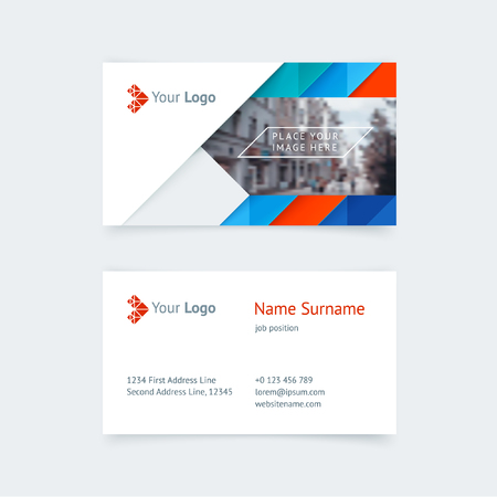 Vector creative business card template with blue and red triangles vector vector creative business card template with blue and red triangles strip for business technology simple and clean design with a icon and a place flashek Images