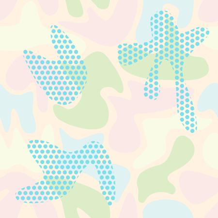 Modello di colore mimetico senza soluzione di continuità di forme lisce astratte con elementi di punti. Illustrazione vettoriale per tessuti decorativi, pelli, sfondi. Archivio Fotografico - 93653162