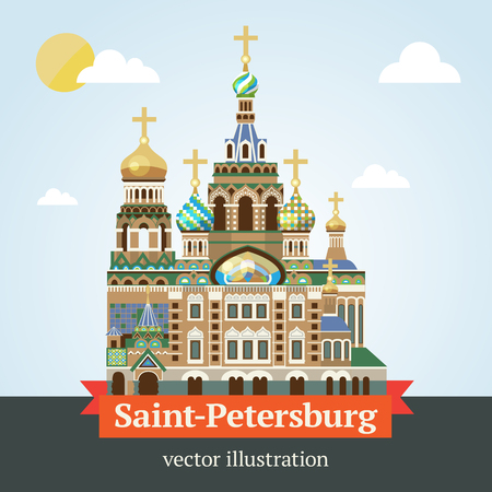 Saint Petersburg, the temple of Savior on Spilled Blood vector illustration of a modern design