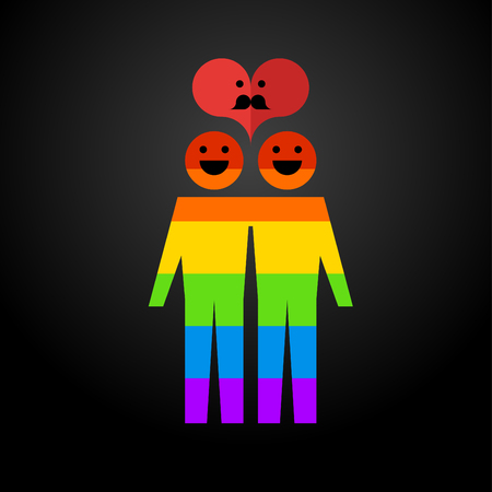 Icon rainbow gay family hugging and smiling, and above them the heart of a mustache on a dark background. Vector illustration of a modern flat style design for printing and web.