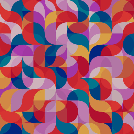 A Vector seamless pattern of drop-shaped twists and undulating geometric forms hearts in dark pastel colors in a modern flat style design for backgrounds, printing, textile, packaging and websites. Illustration