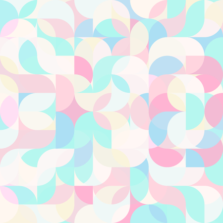 A Vector seamless pattern of drop-shaped twists and undulating geometric forms hearts in bright pastel colors in a modern flat style design for backgrounds, printing, textile, packaging and websites.