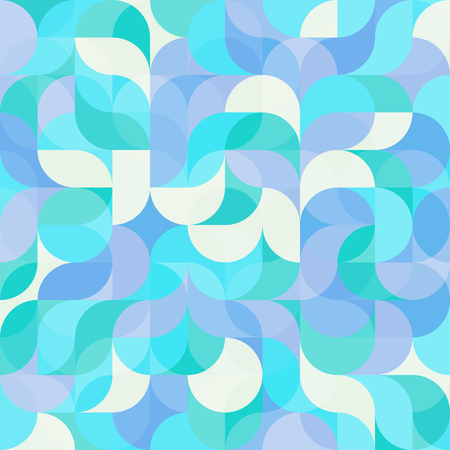 Vector seamless pattern of drop-shaped twists and undulating geometric forms hearts in bright pastel colors in a modern flat style design for backgrounds, printing, textile, packaging and websites. Illustration