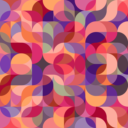 Vector seamless pattern of drop-shaped twists and undulating geometric forms hearts in dark pastel colors in a modern flat style design for backgrounds, printing, textile, packaging and websites.