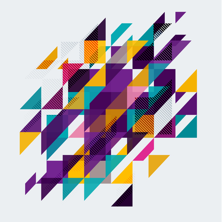 Minimalistic design, creative concept, modern diagonal abstract background Geometric element. Red, orange, blue and yellow diagonal lines, triangles. Vector-stock illustration In a modern flat style. Ilustração