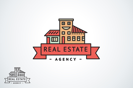 Vector outline logo of a real estate agency or construction company in a modern flat style. Houses, buildings with a ribbon under the name of the company.