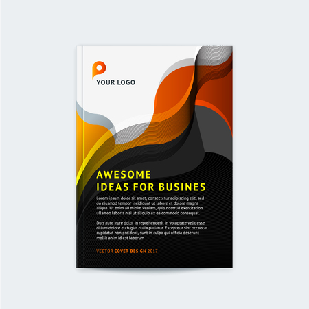 Abstract cover design, business brochure template, layout, report, magazine, booklet in A4 waves dynamic fuzzy, soft lines and smooth shape. Vector illustration with place for logo and text and photo.