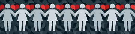 Pictograms of women holding hands on a background of abstract pattern and hearts. Vector illustration in a modern flat style, for registration of polygraphy, sites.