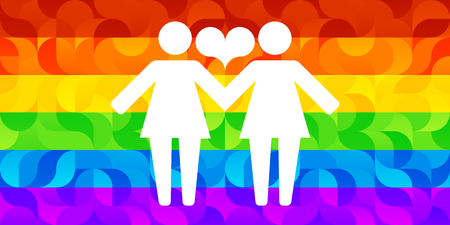 Pictograms of lesbian women holding hands on a background of lgbt flag and hearts. Vector illustration in a modern flat style, for registration of polygraphy, sites. Çizim