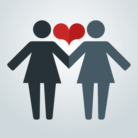 Pictograms of lesbian women holding hands on a background of LGBT flag and hearts vector illustration in a modern flat style, for registration of polygraphy, sites.