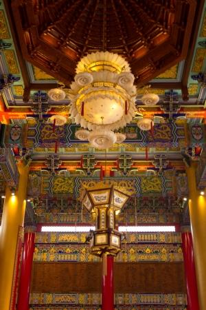 lotus lantern: Chinese lotus lantern on the Chinese roof Editorial