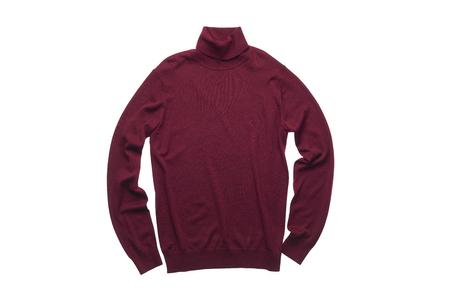 turtleneck: isolated wine red turtleneck sweater on white background Stock Photo