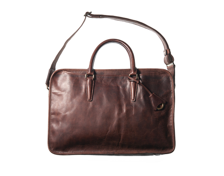 leather bag: isolated blown leather bag on white background