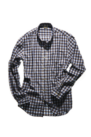 flannel: isolated blue flannel shirt on white background