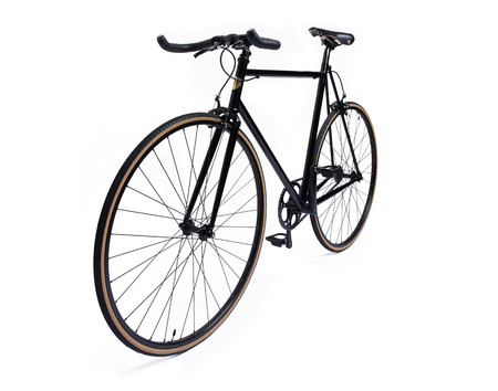 old school bike: clean and beautiful classic black fixed gear bicycle isolated on white