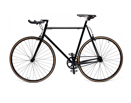 bicycle gear: clean and beautiful classic black fixed gear bicycle isolated on white