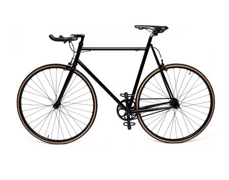 schoon en mooi klassiek zwart fixed gear fiets die op wit Stockfoto