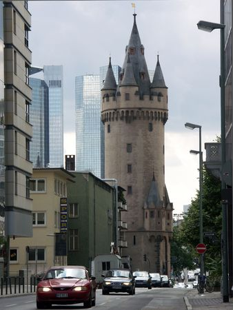 Medieval tower in Frankfurt, Germany Stock Photo