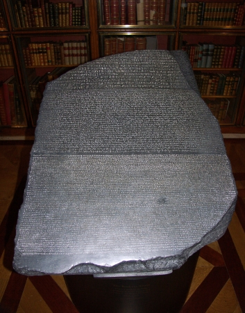 inscriptions: Rosetta stone - A basalt tablet bearing inscriptions in Greek and in Egyptian hieroglyphic and demotic scripts    Editorial