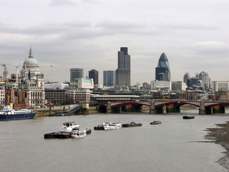 London skyline from Thames Stock Photo