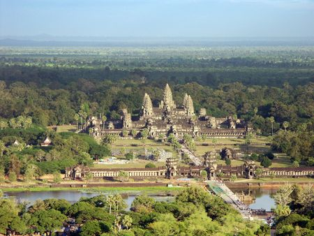 Angkor Wat Temple - view from an air baloon - Siem Reap, Cambodia