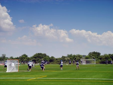 floyd: Lacrosse players in action on the Floyd Bennet field in Brooklyn, New York Stock Photo