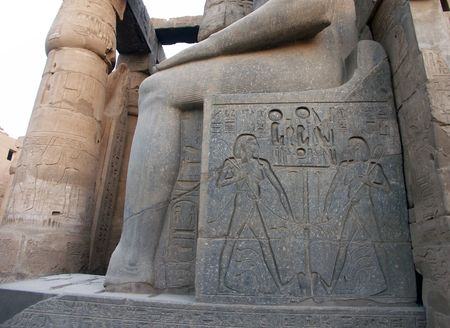 Fragment of the Ramses statue at the Luxor Temple, Egypt