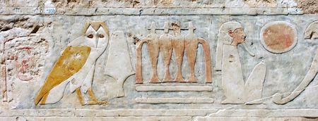 ハトシェプスト女王の神殿、エジプトの壁飾り 写真素材