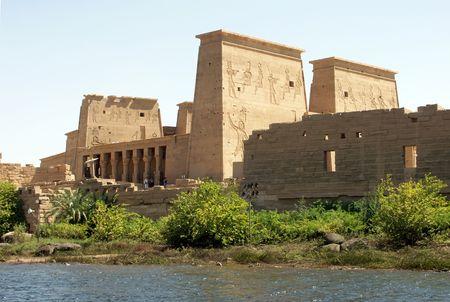 エジプトでフィラエ神殿。ギリシャのプトレマイオス王朝およびローマによって建てられました。公国。 写真素材