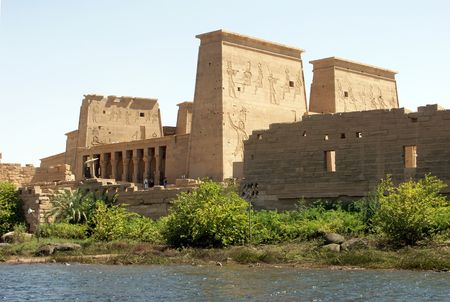 Philae Temple in Egypt. Built by Greek Ptolemaic dynasty and the Roman Principate. Stok Fotoğraf - 605812