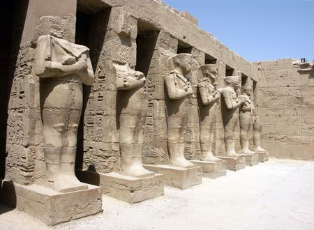 Pharaoh statues at the Karnak Temple, Luxor, Egypt