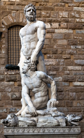 naked statue: Hercules and Cacus by the Florentine artist Baccio Bandinelli  1533  Stock Photo