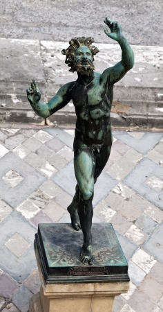 Statue of the dancing Faun at the House of the Faun  Casa del Fauno , built during the 2nd century BC in the ancient Roman town of Pompeii Stock Photo