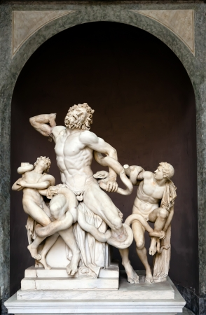 The statue of Laocoon and His Sons is attributed by the Roman author Pliny the Elder to three sculptors from the island of Rhodes  Agesander, Athenodoros and Polydorus  It shows the Trojan priest Laoco and his sons Antiphantes and Thymbraeus being strangl Stock Photo