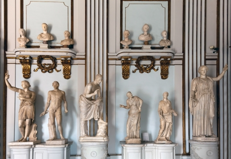 busts: Ancient Roman marble busts and statues on display Editorial