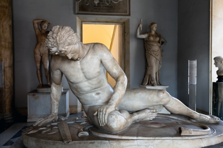 The Dying Gaul, formerly known as the Dying Gladiator, is an ancient Roman marble copy of a lost bronze Hellenistic sculpture, commissioned some time between 230 BC and 220 BC by Attalus I of Pergamon