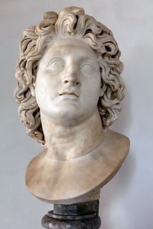 Roman marble copy of a portrait of Alexander the Great as the Sun God Helios    Editorial