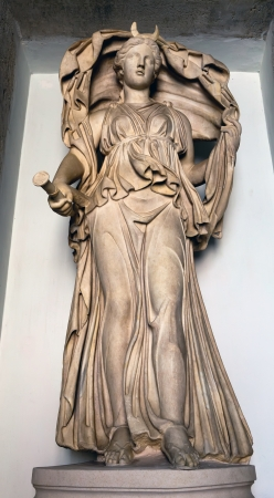 billowing: Ancient Roman statue depicting Selene - The goddess of the Moon, with her cloak billowing above her head