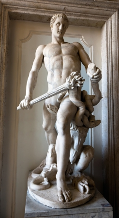 slaying: Hercules slaying the Hydra Roman copy of 4th century BCE original by Lysippos