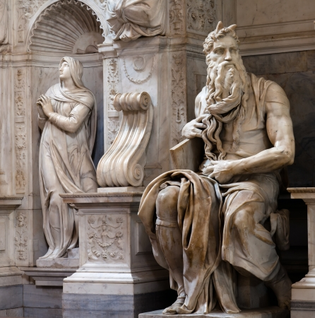 michelangelo: Moses by Michelangelo in San Pietro in Vincoli, Rome, Italy Stock Photo