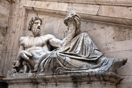 Statue representing the Tiber River, located on the steps of the Palazzo Senatorio Reklamní fotografie