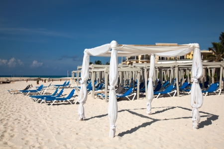 Wedding gazebo on the Playa Del Carmen beach in Mexico photo