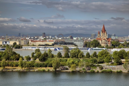 the danube: The Donauinsel  Danube Island  is a long, narrow island, in central Vienna, Austria, between the Danube river and the parallel excavated channel Neue Donau