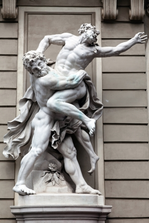 Statue of Hercules fighting Antaeus in the Hofburg Quarters, Vienna Stock Photo