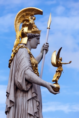The Athena statue of the Athena Fountain situated in front of the Austrian Parliament   photo