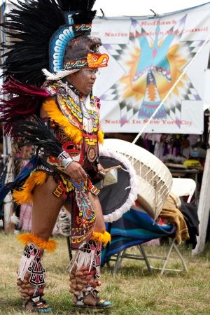bennett: Aztec dancer at the Pow Wow Native American Festival at Floyd Bennett Field on June 6, 2010 in Brooklyn, NY.  Editorial