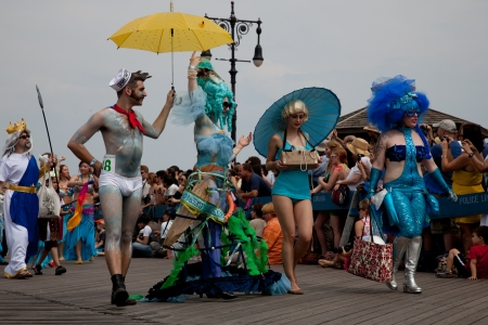 Unidentified participants of the 28th annual Coney Island Mermaid Parade on June 18, 2011 at Coney Island, Brooklyn, NY, USA.