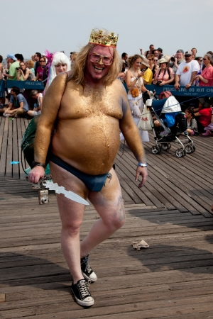 Unidentified participant of the 28th annual Coney Island Mermaid Parade on June 18, 2011 at Coney Island, Brooklyn, NY, USA.
